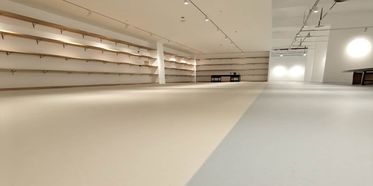 古寿胜寺展厅PVC地板简约灰白风铺装案例