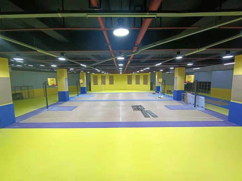 枫木纹+石榴纹紫色黄色纹路运动地板