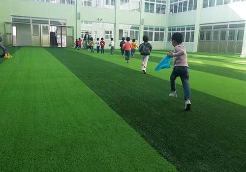 姜堰区兴泰幼儿园室外人造草坪铺设效果图1