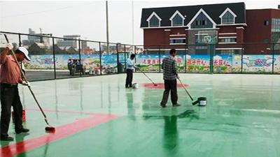 凤城橡塑药城邻里中心硅PU篮球场施工现场