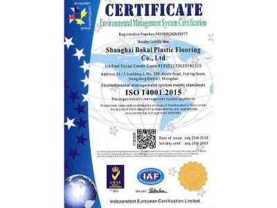 凤城橡塑-博凯ISO14001英